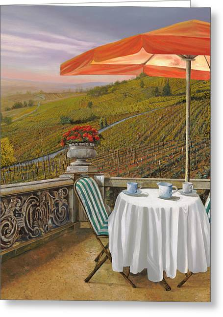Vineyards Paintings Greeting Cards - Un Caffe Greeting Card by Guido Borelli