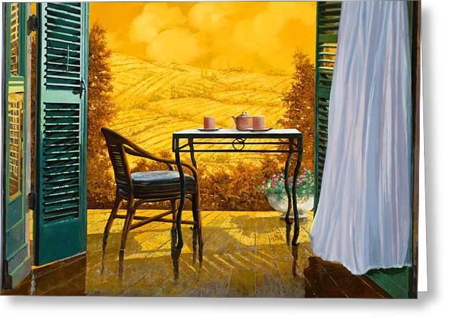 Scenic Landscape Greeting Cards - Un Caldo Pomeriggio D Greeting Card by Guido Borelli