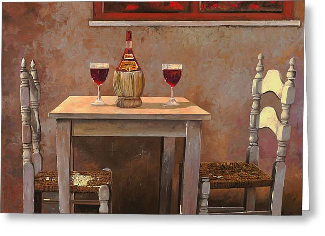 Table Greeting Cards - un fiasco di Chianti Greeting Card by Guido Borelli
