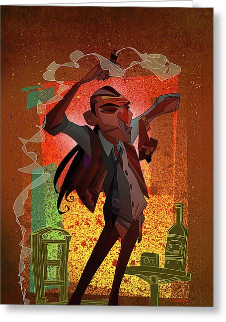 Cartoon Greeting Cards - Un Hombre Greeting Card by Nelson Dedos Garcia