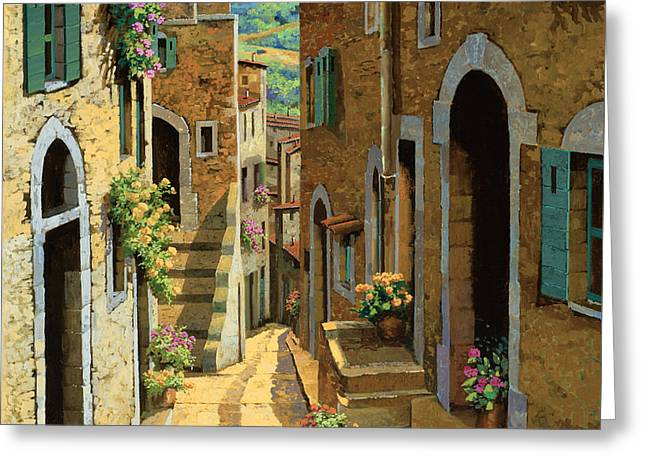 Shadows Greeting Cards - Un Passaggio Tra Le Case Greeting Card by Guido Borelli