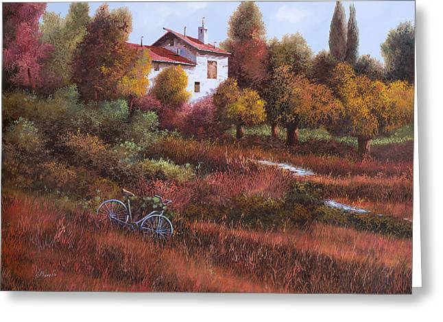 Red Leaves Greeting Cards - Una Bicicletta Nel Bosco Greeting Card by Guido Borelli