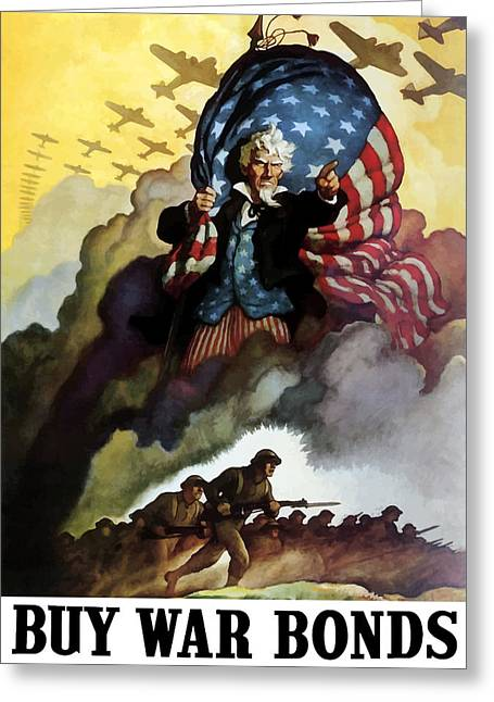 Flags Digital Art Greeting Cards - Uncle Sam Buy War Bonds Greeting Card by War Is Hell Store