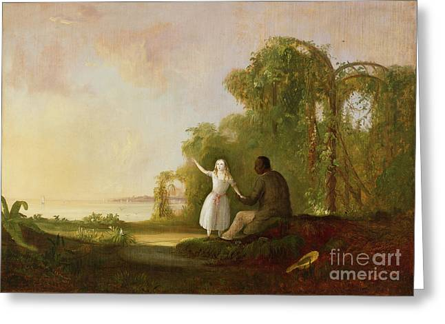 Black Man Paintings Greeting Cards - Uncle Tom and Little Eva Greeting Card by Robert Scott Duncanson