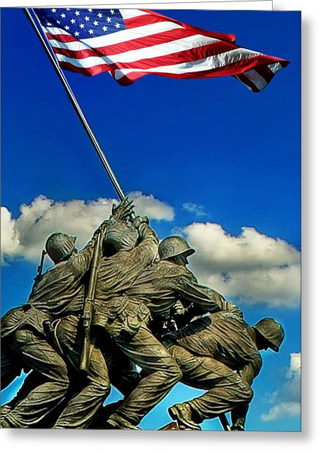 Old Glory Digital Art Greeting Cards - Uncommon Valor Greeting Card by Don Lovett