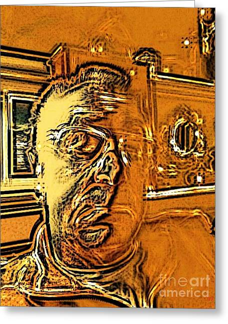 Self-portrait Greeting Cards - Unconvinced Greeting Card by Ron Bissett
