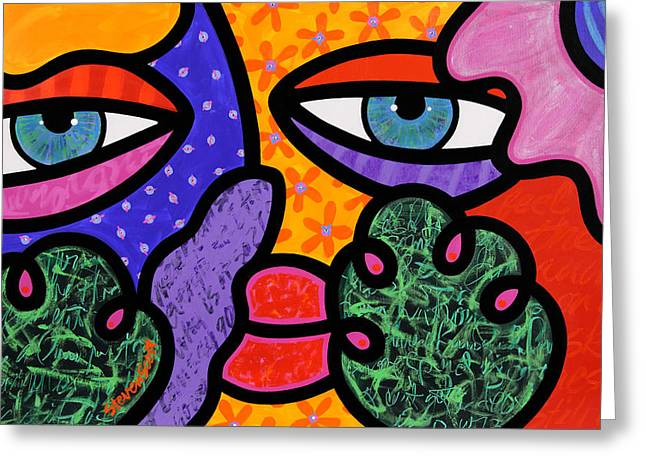 Abstract Face Greeting Cards - Under Cover Greeting Card by Steven Scott