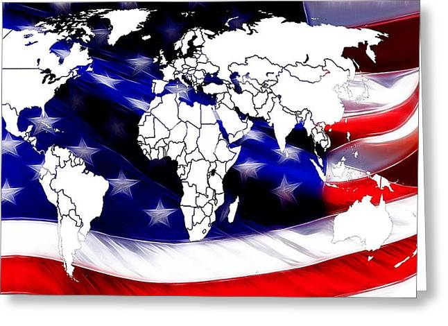 World Digital Map Greeting Cards - Under Protection Map Greeting Card by Stefan Kuhn