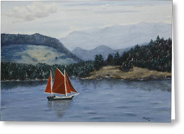 Puget Sound Framed Prints Greeting Cards - Under Sail in the San Juans Greeting Card by Alan Mager