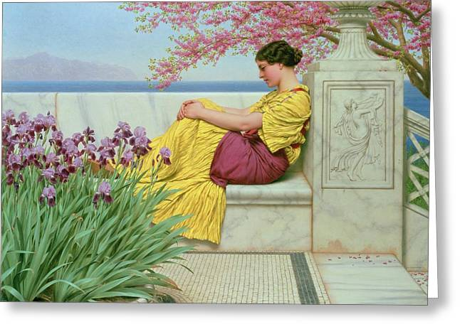 Bough Greeting Cards - Under the Blossom that Hangs on the Bough Greeting Card by John William Godward