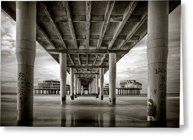Metallic Prints Greeting Cards - Under the Boardwalk Greeting Card by Dave Bowman