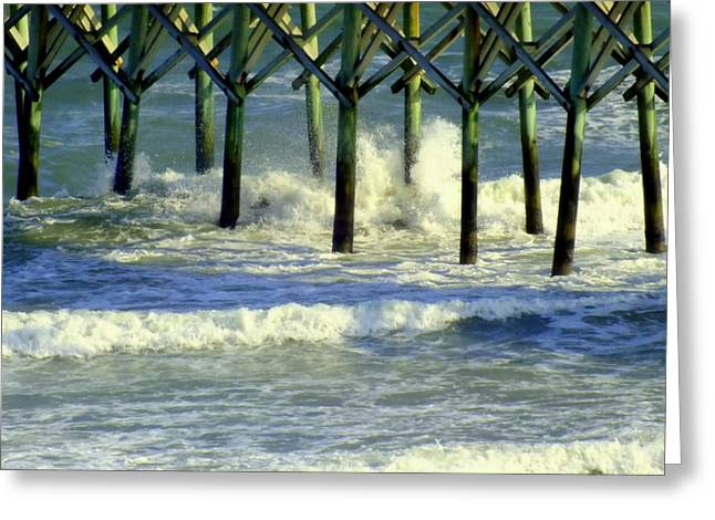 Surf City Greeting Cards - Under the Boardwalk Greeting Card by Karen Wiles