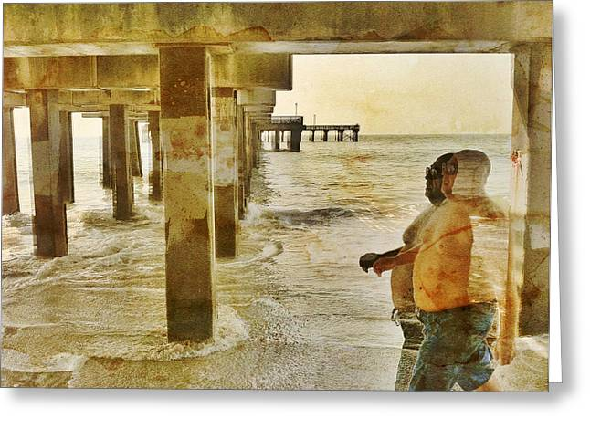 York Beach Greeting Cards - Under the Coney Island Pier Greeting Card by Frank Winters
