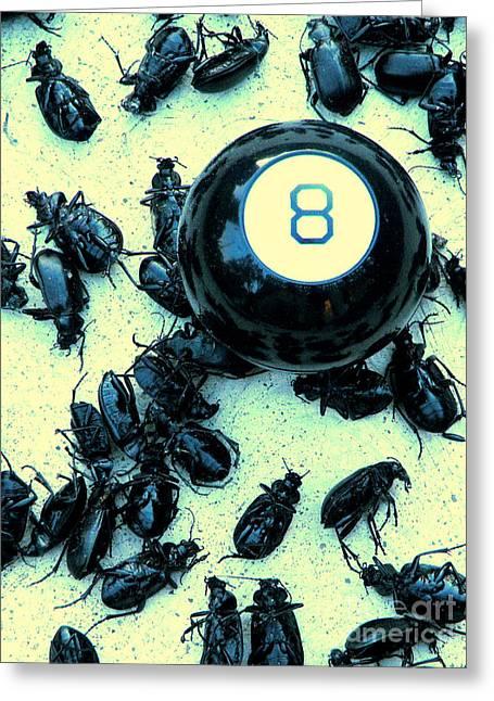 Humorous Beetle Greeting Card Greeting Cards - Under The Eight Ball Greeting Card by Joe Jake Pratt