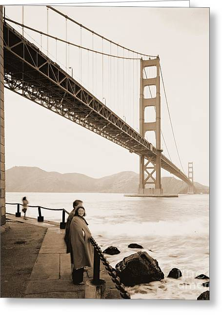 Marin County Greeting Cards - Under the Golden Gate Bridge Greeting Card by Padre Art