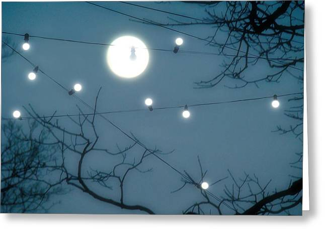 Surreal Landscape Greeting Cards - Under The Moonlit Sky Greeting Card by Gothicolors Donna Snyder