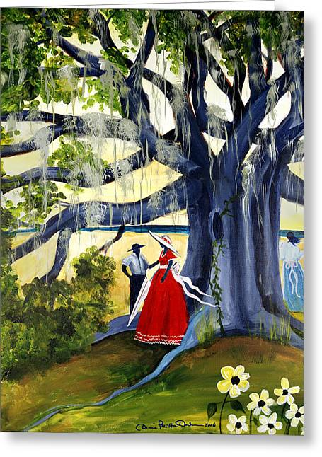 Slavery Paintings Greeting Cards - Under The Mossy Oak Greeting Card by Diane Britton Dunham
