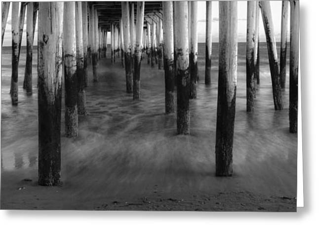 Ocen Landscape Greeting Cards - Under the OOB Pier Greeting Card by Guy Whiteley