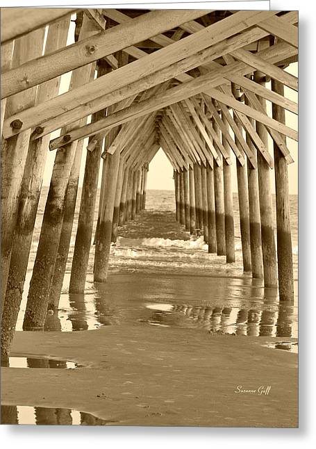 Sunset Greeting Cards Digital Greeting Cards - Under the Pier - Sunset Beach in sepia Greeting Card by Suzanne Gaff