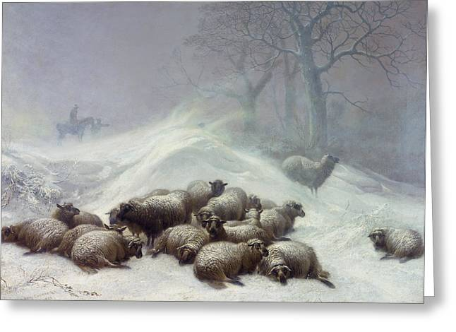 Wintry Greeting Cards - Under the Shelter of the Shapeless Drift Greeting Card by Thomas Sidney Cooper