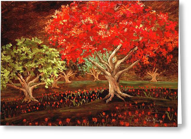 Thick Roots Greeting Cards - Under the Trees Greeting Card by Vic  Mastis