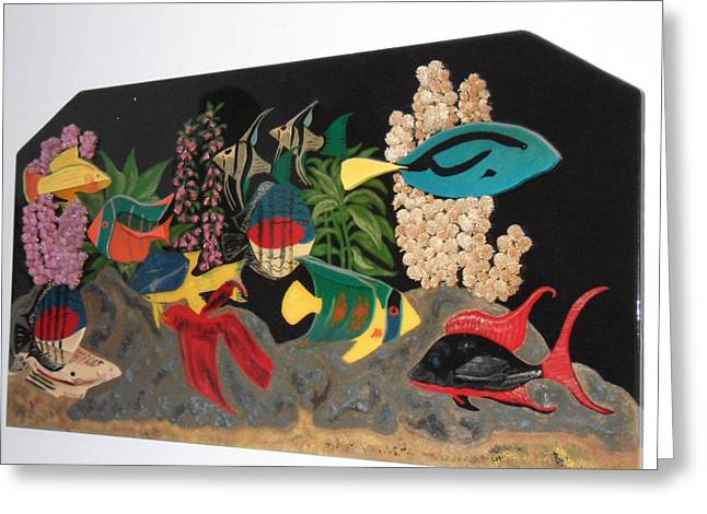 Under The Water In Wood Greeting Card by Val Oconnor