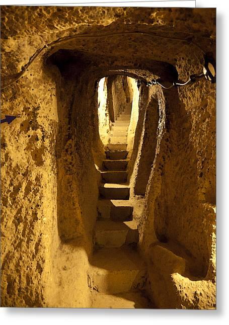 Underground Caves Derinkuyu Greeting Card by Kantilal Patel