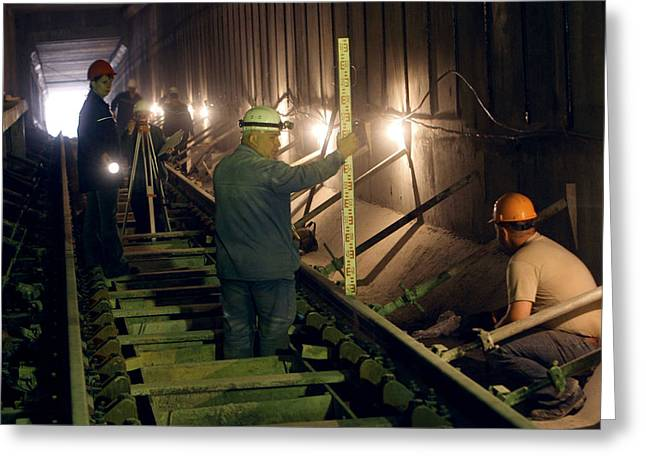 Hard Hat Greeting Cards - Underground Railway Construction Work Greeting Card by Ria Novosti