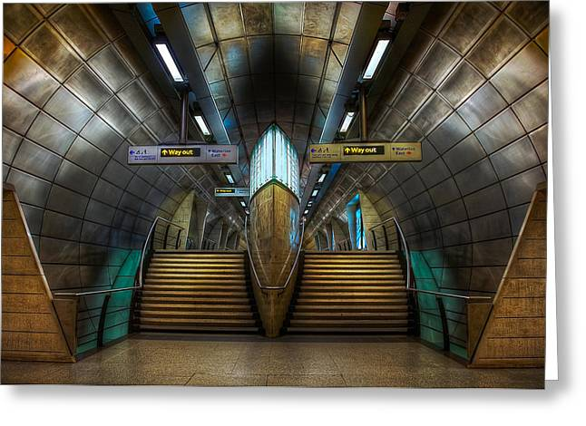 Staircase Mixed Media Greeting Cards - Underground Ship Greeting Card by Svetlana Sewell