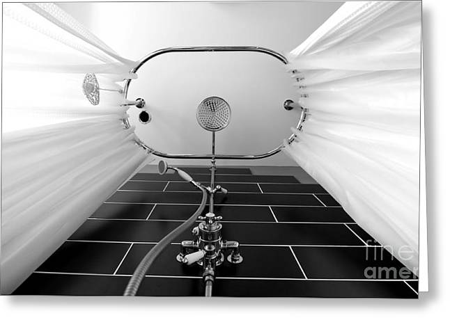 Shower Head Greeting Cards - Underneath an old style shower Greeting Card by Simon Bratt Photography LRPS