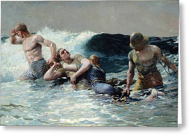 Looking In Greeting Cards - Undertow Greeting Card by Winslow Homer