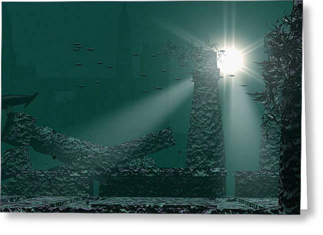 Atlantis Greeting Cards - Underwater Atlantis Greeting Card by Christian Darkin