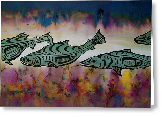 Fish Tapestries - Textiles Greeting Cards - Underwater Color Greeting Card by Carolyn Doe