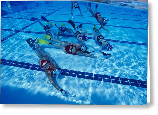 Sportswoman Greeting Cards - Underwater Hockey Greeting Card by Alexis Rosenfeld
