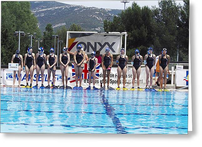 Sporting Activities Greeting Cards - Underwater Hockey Players Greeting Card by Alexis Rosenfeld