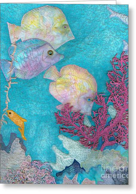 Sea Life Tapestries - Textiles Greeting Cards - Underwater Splendor III Greeting Card by Denise Hoag