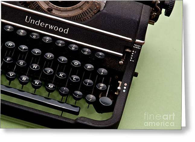 Typewriter Keys Photographs Greeting Cards - Underwood Greeting Card by Valerie Morrison