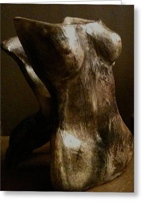 Female Sculptures Greeting Cards - Undressed View 1 Greeting Card by Holly  Suzanne