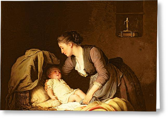 Bedtime Greeting Cards - Undressing the Baby Greeting Card by Meyer von Bremen