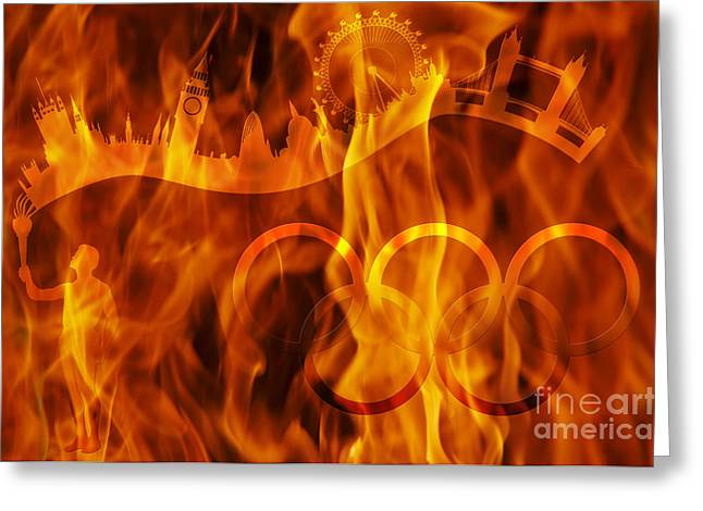 Locations Digital Art Greeting Cards - undying Olympic flame Greeting Card by Michal Boubin