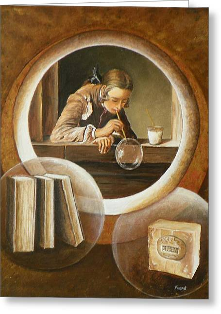 Chardin Greeting Cards - Une these sur le savon avec Chardin Greeting Card by Frank Godille