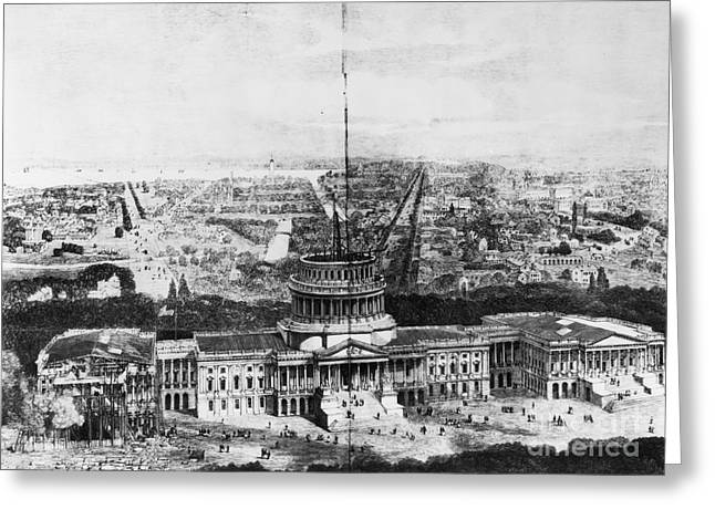 1850s Greeting Cards - UNFINISHED CAPITOL, 1850s Greeting Card by Granger