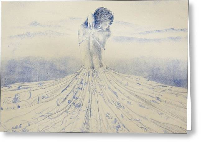 Woman In A Dress Drawings Greeting Cards - Unfolding the Twilight Greeting Card by Leonardo Pereznieto