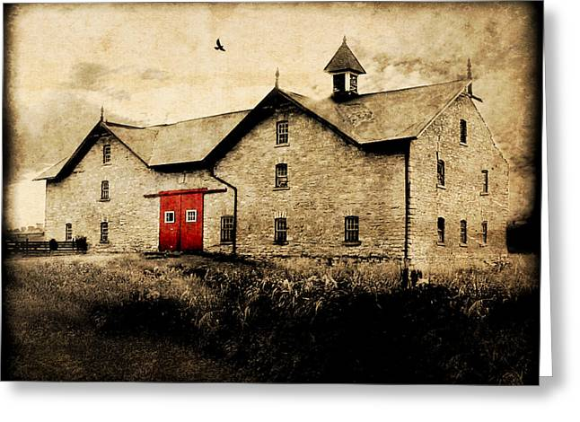 Red Door Greeting Cards - UNI Barn Greeting Card by Julie Hamilton