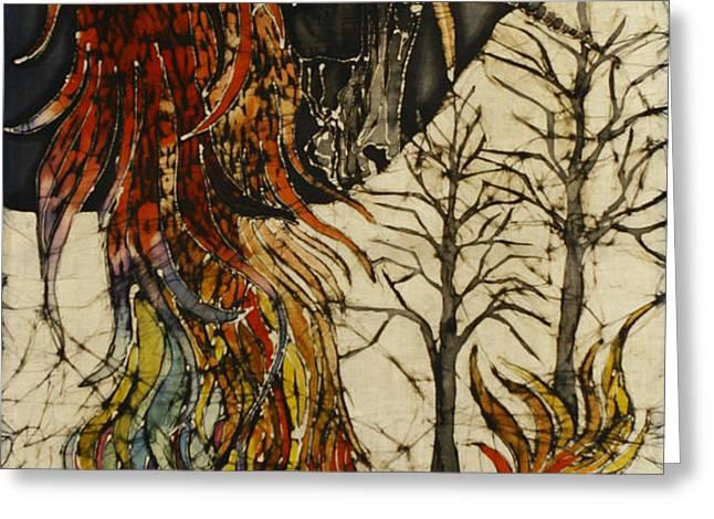 Unicorn and Phoenix Greeting Card by Carol  Law Conklin