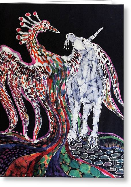 Emergence Tapestries - Textiles Greeting Cards - Unicorn and Phoenix Merge Paths Greeting Card by Carol Law Conklin