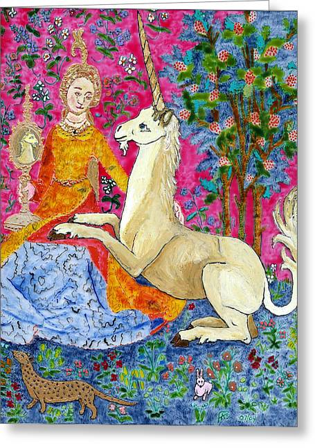 Unicorn And The Lady Greeting Card by Phil Strang
