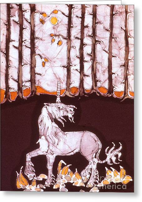 Unicorn Tapestries - Textiles Greeting Cards - Unicorn Below Trees in Autumn Greeting Card by Carol  Law Conklin