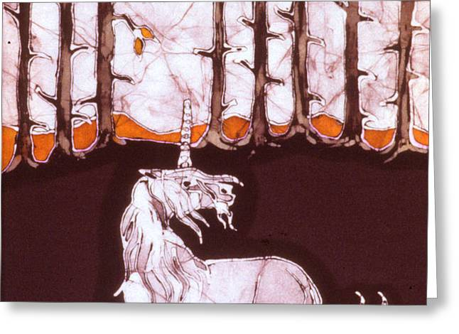 Unicorn Below Trees in Autumn Greeting Card by Carol  Law Conklin