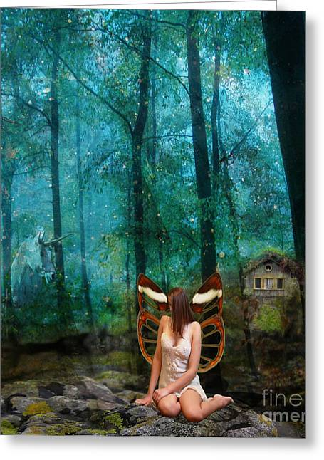 Fairies Greeting Cards - Unicorn in the forest Greeting Card by Patricia Ridlon